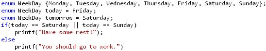 Enum in C example - days of week