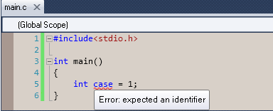 Using C keywords for variable naming is not allowed