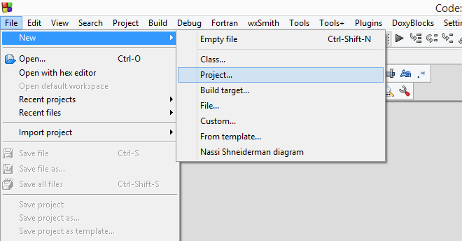 Create new project in Code::Blocks