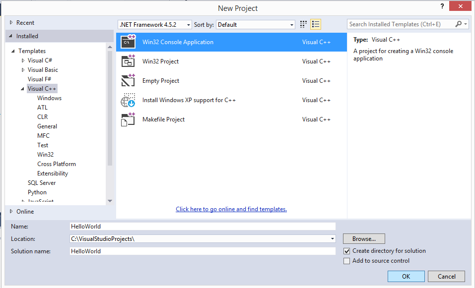 Select Visual C++ Template and then choose Win32 Console Application