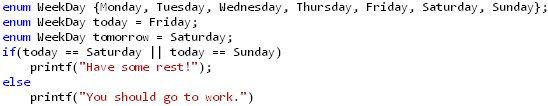 Enum in C example - days of week