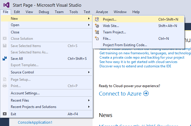 Creating a new project in Visual Studio