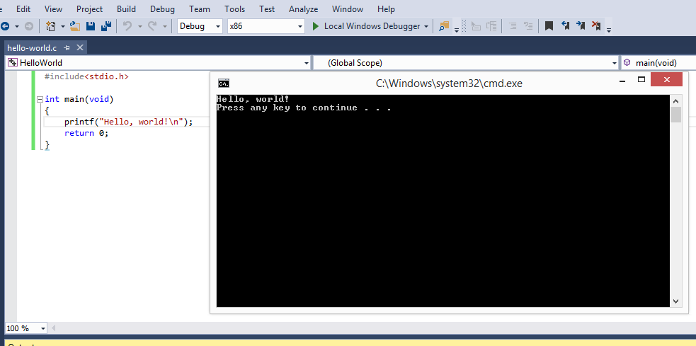 Write the code of the C Hello World program